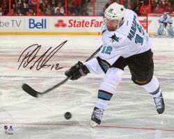 "Patrick Marleau San Jose Sharks Autographed White Jersey Shooting 8"" x 10"" Photograph"