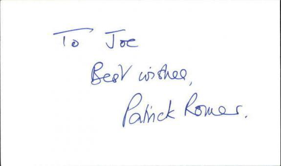 "PATRICK ROMER JAMES BOND Signed 3""x5"" Index Card"