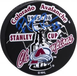Patrick Roy Colorado Avalanche Autographed 1996 Stanley Cup Champions Logo Hockey Puck