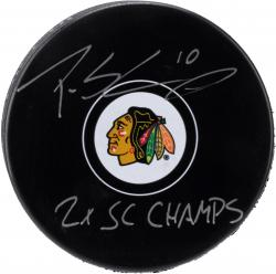 Patrick Sharp Chicago Blackhawks Autographed Hockey Puck with 2X SC Champs Inscription