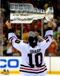 """Patrick Sharp Chicago Blackhawks Autographed Raising Cup 16"""" x 20"""" Photograph with 2X SC Champs Inscription"""