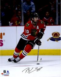 "Patrick Sharp Chicago Blackhawks Autographed Skating With Puck 16"" x 20"" Photograph"