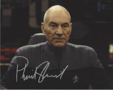 """PATRICK STEWART as CAPTAIN JEAN-LUC PICARD in """"STAR TREK: NEXT GENERATION"""" and its Successor Films - Signed 10x8 Color Photo"""