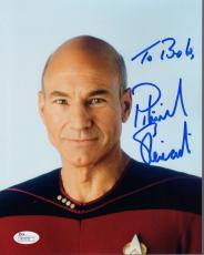 PATRICK STEWART HAND SIGNED 8x10 COLOR PHOTO    PICARD STAR TREK   TO BOB    JSA