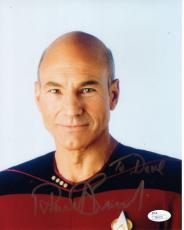PATRICK STEWART HAND SIGNED 8x10 COLOR PHOTO      STAR TREK      TO DAVE     JSA