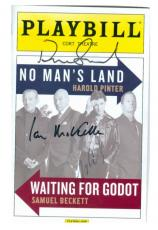 Patrick Stewart, Ian Mckellen, Billy Cudup autographed Playbill for No Mans Land Waiting for Godot SC