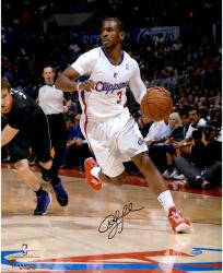 "Chris Paul Los Angeles Clippers Autographed 16"" x 20"" Vertical Dribble White Uniform Photograph"