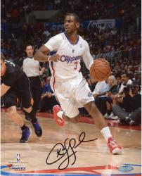 Chris Paul Los Angeles Clippers Autographed 8'' x 10'' Vertical Dribble White Uniform Photograph - Mounted Memories