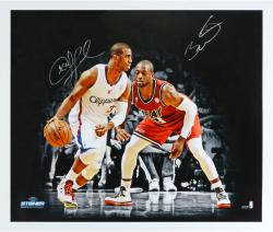 Chris Paul Los Angeles Clippers Autographed 20'' x 24'' vs. Dwyane Wade Photograph - Mounted Memories