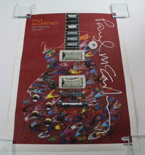 Paul Mccartney Band X4 Signed Autograph 2011 On The Run Le Concert Tour Poster