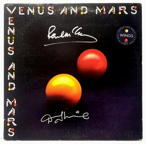 "PAUL McCARTNEY Beatles & Denny Laine Signed Auto ""WINGS"" Album w/ Vinyl PSA/DNA"