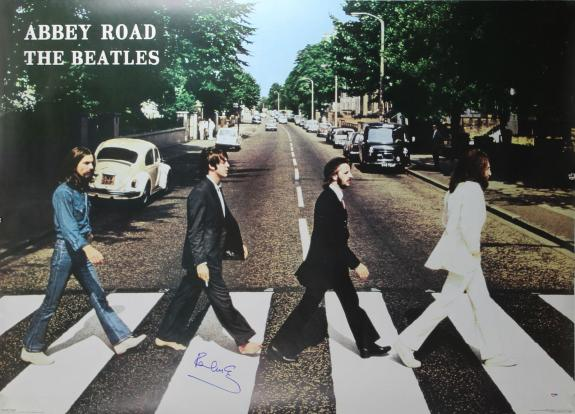Paul McCartney Beatles Signed 39x53 Abbey Road Poster PSA/DNA #Q02611