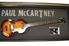 Paul McCartney Beatles Signed Hofner Guitar&Display Case Psa/Dna