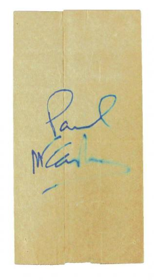 Paul McCartney Beatles Signed/Autographed Cut Photo Paper Bag Beckett 161135