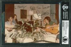 Paul McCartney, Johnny Cash & June Carter Cash Signed 5x7 Photo BAS Slabbed