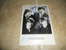 Paul McCartney Ringo Star Beatles Signed Auto'd 4x6 Postcard Photo PSA Certified