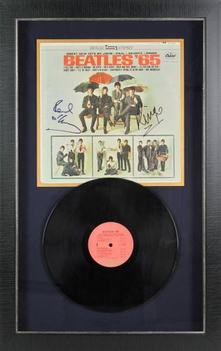 Paul McCartney & RIngo Starr Signed & Framed Beatles '65 Album Cover PSA #P00909