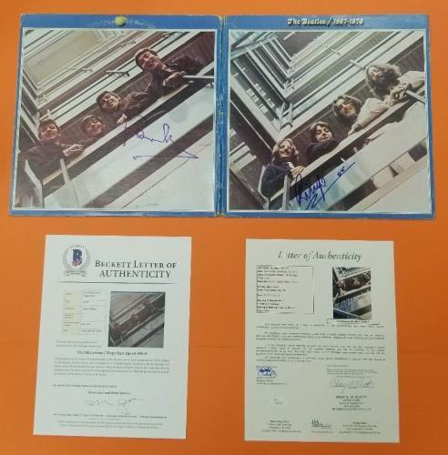 PAUL McCARTNEY & RINGO STARR SIGNED THE BEATLES 1967-70 ALBUM BAS & JSA LOA psa