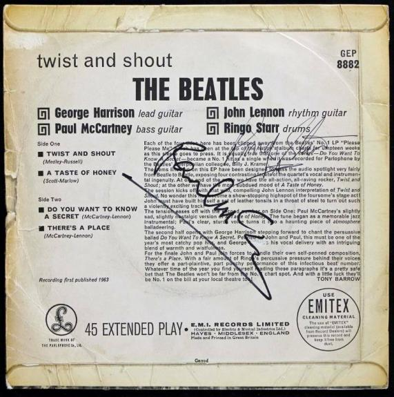 Paul Mccartney & Ringo Starr Signed Twist And Shout Ep Cover PSA/DNA #S03300