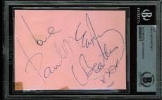 Paul McCartney Signed 2.5x3.5 Cut Signature Autographed BAS Slabbed