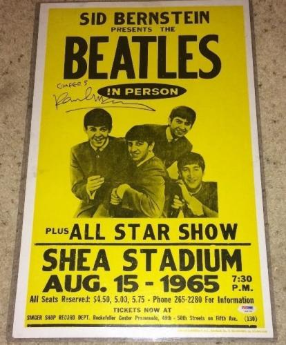 Paul Mccartney Signed Autograph Beatles 1965 Shea Concert Poster Psa/dna S14735