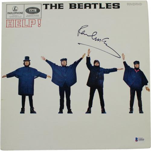 "Paul McCartney Signed The Beatles ""Help"" Record Album Cover Beckett COA"