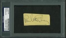 Paul Mccartney The Beatles Signed 1.5x3 Cut Autograph Psa/dna Slabbed