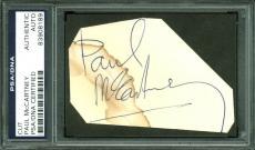 Paul McCartney The Beatles Signed 2.25x3.5 Cut Signature PSA Slabbed