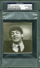 Paul Mccartney The Beatles Signed 3x3.25 Cut Photo Psa/dna Slabbed