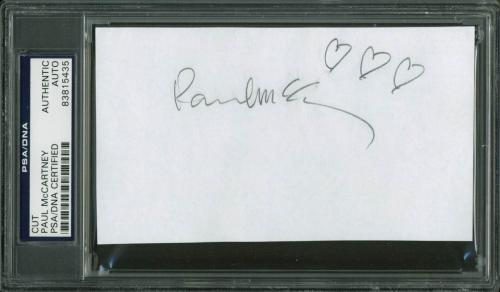 Paul McCartney The Beatles Signed 3x5.5 Cut w/ Hand Drawn Hearts PSA/DNA Slabbed