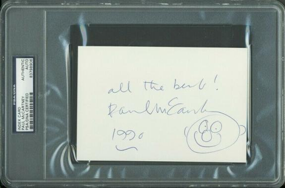 Paul McCartney The Beatles Signed 4x6 Index Card w/ Sketch PSA Slabbed