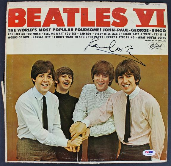 Paul McCartney The Beatles Signed Album Cover W/ Vinyl PSA/DNA #AB04451