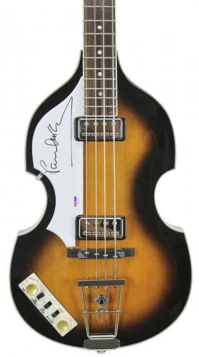 Paul McCartney The Beatles Signed Left Handed Hofner Violin Bass Guitar PSA/DNA