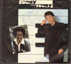 "PAUL McCARTNEY The Beatles Signed Stevie Wonder ""Ebony & Ivory"" 45 RPM Album JSA"