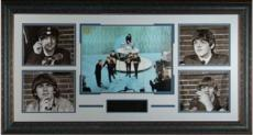 Paul McCartney unsigned Beatles 5 Photo 40x23 Leather Framed Ed Sullivan Show