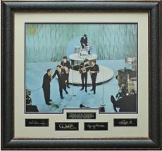 Paul McCartney unsigned The Beatles 32x32 Ed Sullivan Show Engraved Signature Series Leather Framed (entertainment)  (photo)