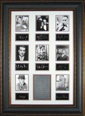 Paul Muni unsigned Hollywood Gangsters 25x38 Engraved Signature Series Leather Framed w/8 actors (movie/entertainment)