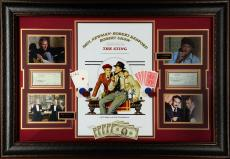 "Paul Newman and Robert Redford Framed Autographed 48"" x 34"" The Sting Signed Checks Collage - Psa/DNA"