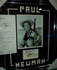 Paul Newman Movie Legend Signed Autographed Double Matted & Framed Jsa Loa Rare