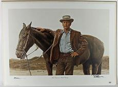 """Paul Newman Signed 22.75x30.5 """"Butch Cassidy"""" Litho PSA/DNA #AB03379"""