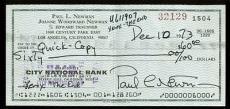 Paul Newman Signed 2.5x6 Personal Check Dated Dec. 10 1973 JSA #B74689