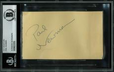 Paul Newman Signed 3x5 Cut Signature Autographed BAS Slabbed