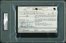 Paul Newman Signed 4x6 1968 Cash Advance Document Psa/dna Slabbed