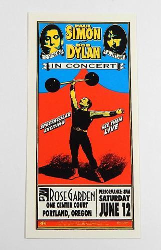 Paul Simon / Bob Dylan Concert Handbill By Mark Arminski 1999 Rose Garden