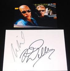 Paul Walker Vin Diesel Signed Autographed 5x7 Card + Photo Fast and Furious