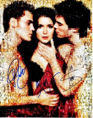 Paul Wesley, Nina Dobrev, and Ian Somerhalder Signed - Autographed The Vampire Diaries Cast 11x14 inch Photo - Guaranteed to pass PSA or JSA