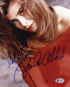 "Paula Abdul Autographed 8""x 10"" Wearing Red Dress Photograph With Lots of Love Inscription - Beckett COA"