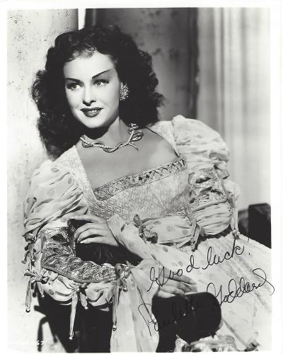 "PAULETTE GODDARD - Movies Include ""MODERN TIMES"" and ""THE GREAT DICTATOR"" with CHARLIE CHAPLIN (Passed Away 1990) Signed 8x10 B/W Photo"