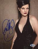"Pauley Perrette Autographed 8"" x 10"" Posing with Black Dress Photograph - Beckett COA"