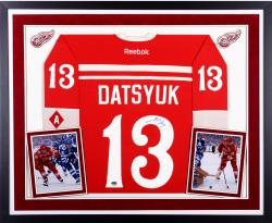 Pavel Datsyuk Detroit Red Wings Autographed Deluxe Framed 2014 Winter Classic Reebok Premier Jersey